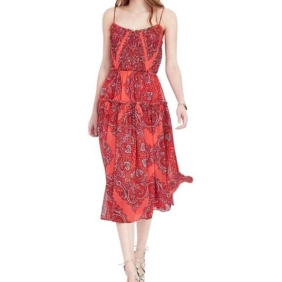 b8f6ba33c1e4e Banana Republic Dresses   Skirts - Banana Republic Coral Chiffon Paisley  Midi Dress 4